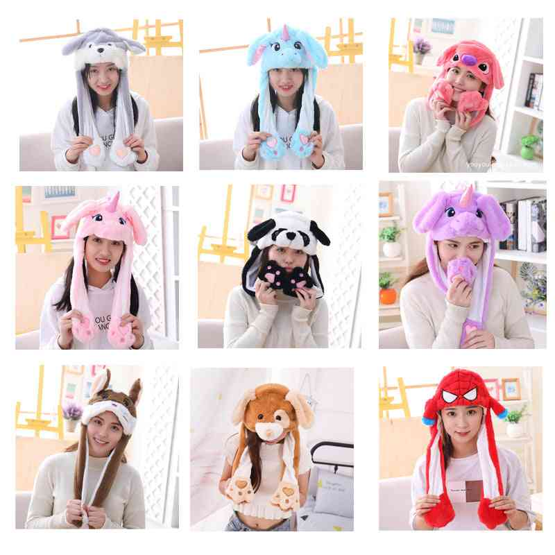 Cute Rabbit Hat With Light Air Float Filling Ear Moving Cap