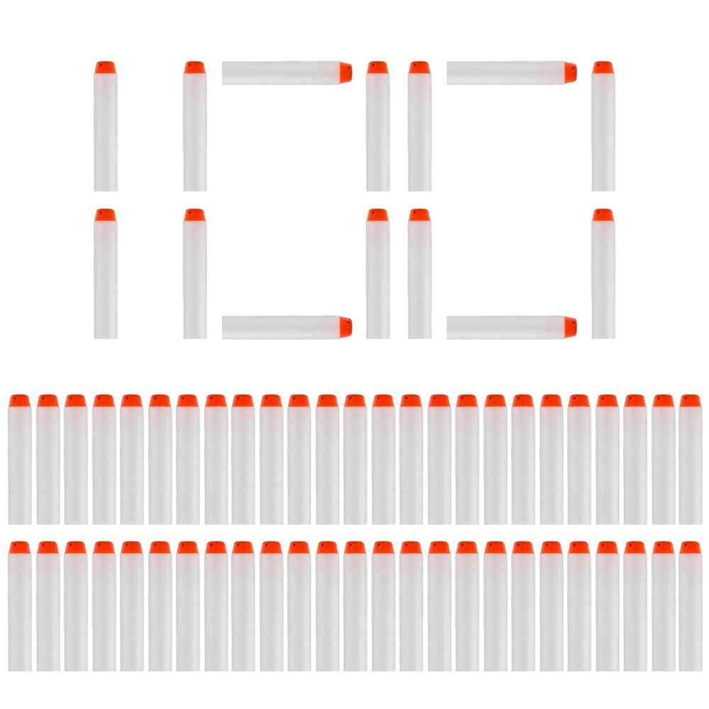 100pcs 7.2cm White Refill Bullet Darts For Nerf - Luminous Soft Hollow Hole Head Blasters For Toy Gun