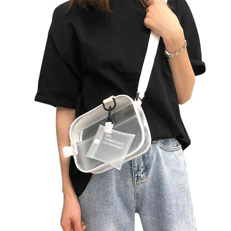 Causual Pvc Transparent Clear Crossbody Shoulder Bag - Small Phone Bag With Card Holder, Wide Straps Flap