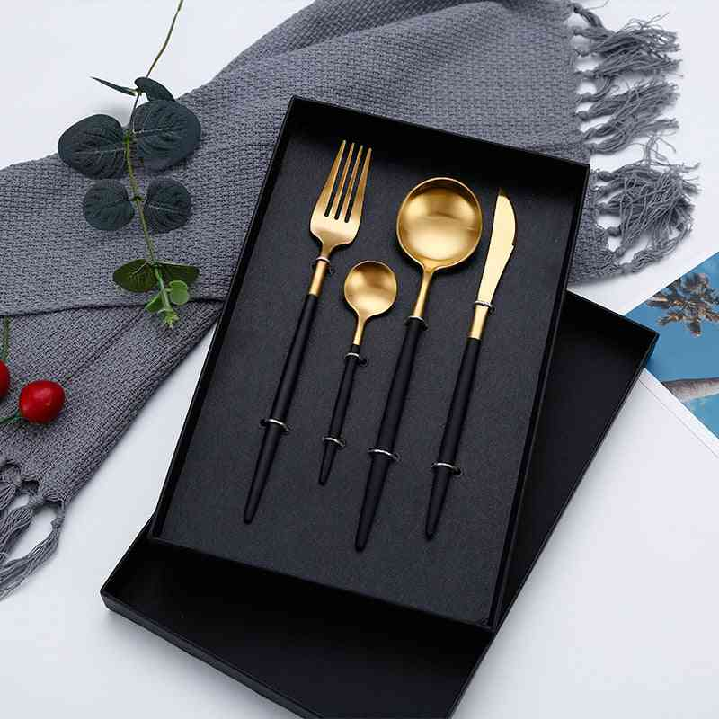 4pcs/set Designer Cutlery, Fork, Knife, Spoon - Stainless Steel Dinnerware Set