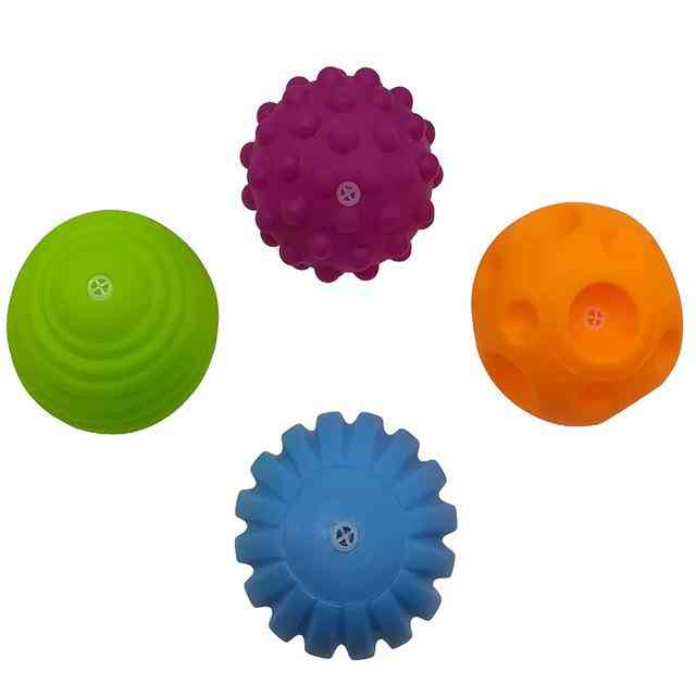 Baby Rubber Hand -textured Touch Ball For Sensory Fun, Bath Time, Type - Tj019 4pcs