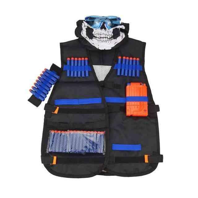 Kids Tactical Vest Jacket Waistcoat N-strike Elite Toy Pistol Ammo Holder Clip Darts For Nerf