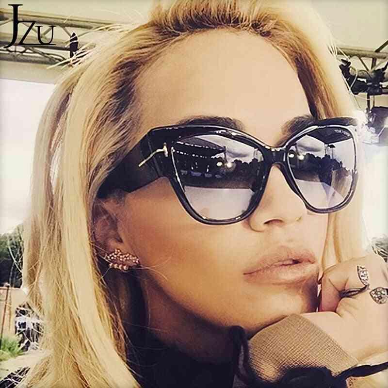Luxury Designer Black Cat Eye Oversized Sunglasses With Gradient