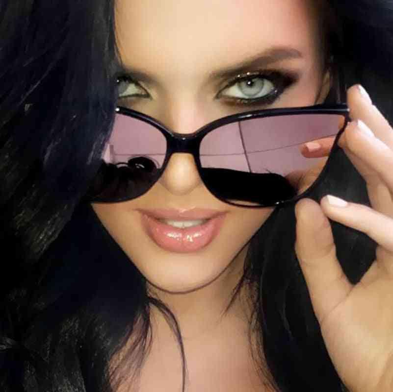 Luxury Flat Top Cat Eye Elegant - Twin Beam Oversized Sun Glasses Uv400