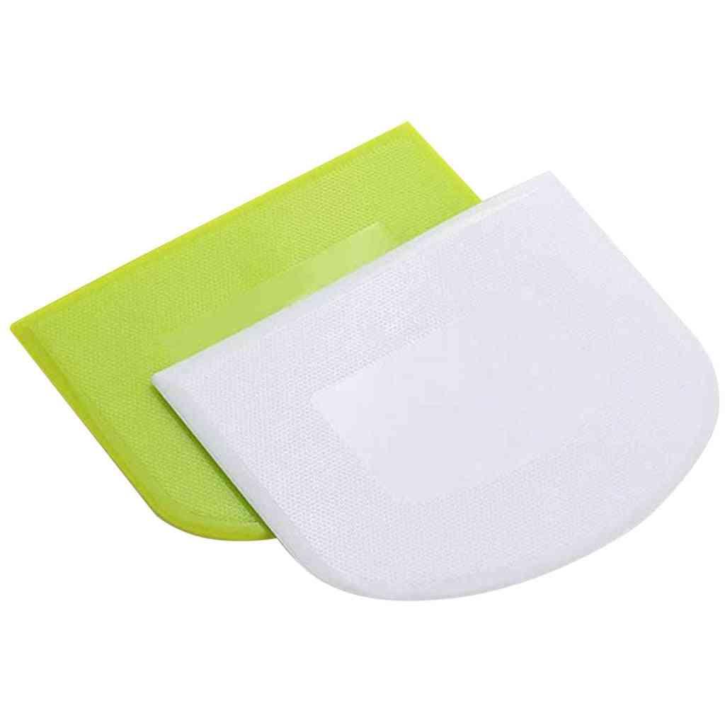 2pc Plastic Cake Cream Spatula, Dough Butter, Batter Scraper Baking Tool For Kitchen
