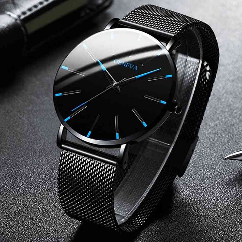Minimalist Men's Fashion Ultra Thin, Stainless Steel - Mesh Belt Quartz Watch