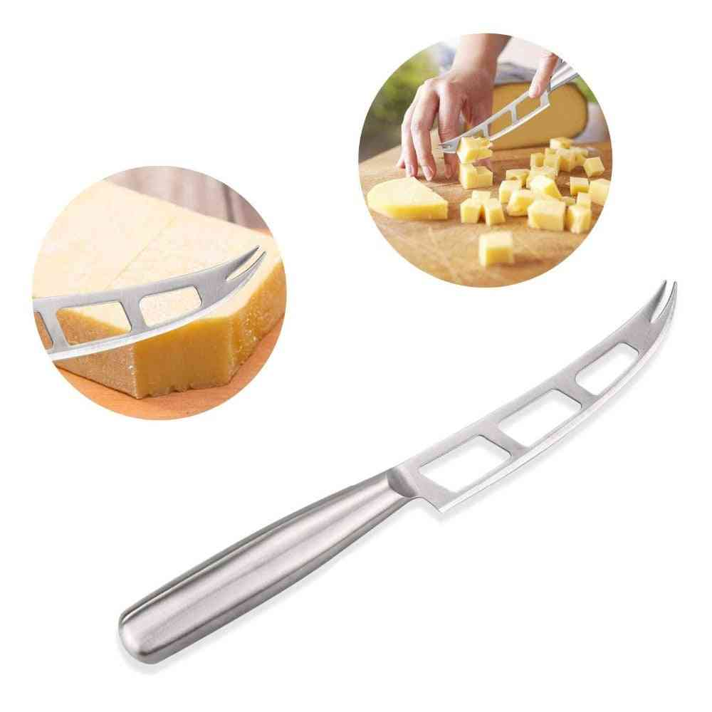 1pc Cheese Knife Stainless Steel - Cheese Knife With Fork Tip Serrated Cheese - Butter Knife