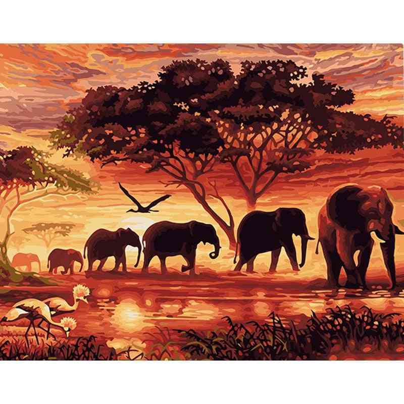 Hand Painted Acrylic Picture Sunset Elephants Animals Diy Painting By Numbers Modern Wall Art