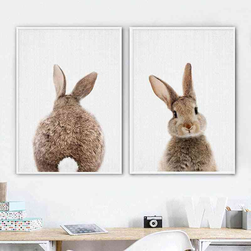 Bunny Rabbit Tail Wall Art Picture Woodland Animal Canvas - Poster Nursery Print Minimalist Painting Nordic