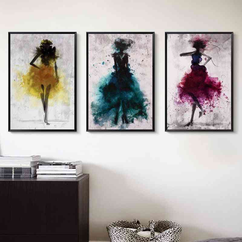 Elegant Poetry Dancing Girl - Watercolor Abstract, Canvas Painting