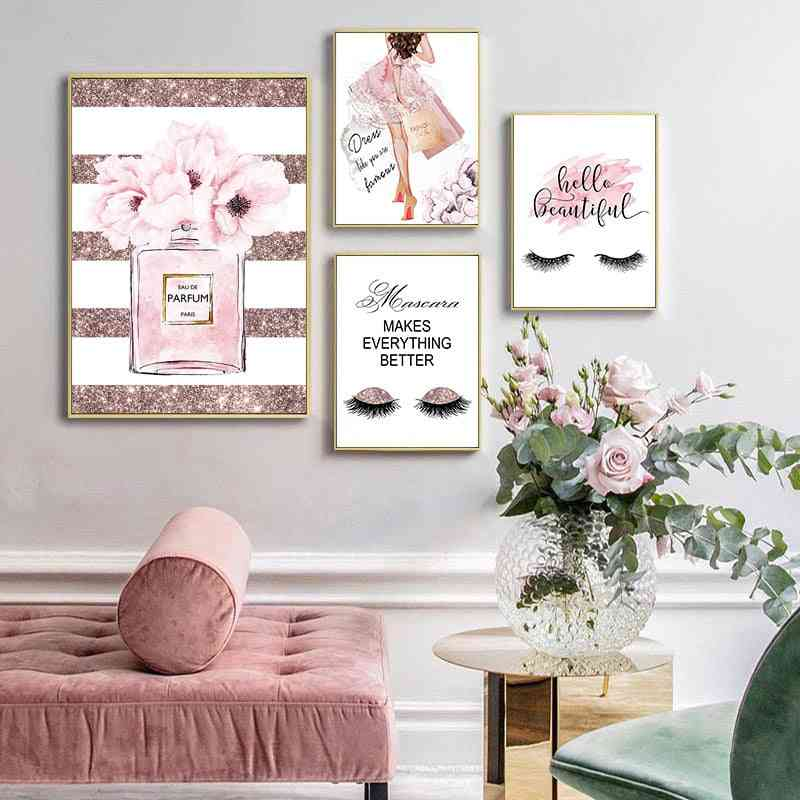 Canvas Art Poster With Pink Flower, Perfume Fashion - Wall Picture Modern Girl Room