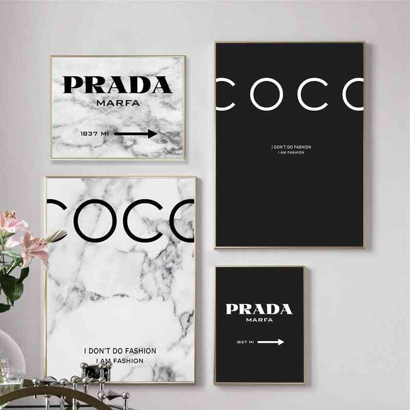Modern Fashion Marble Coco Quotes Posters And Prints Black White Vogue Pictures Canvas Painting