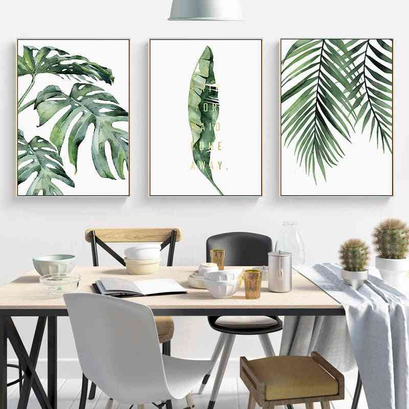 Wall Art Canvas Painting - Green Style Plant, Nordic Posters And Prints Decorative Painting