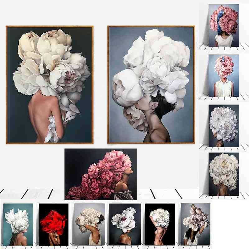 Modern Figure Lady Head Flower Picture - Home Decor Nordic Canvas Painting
