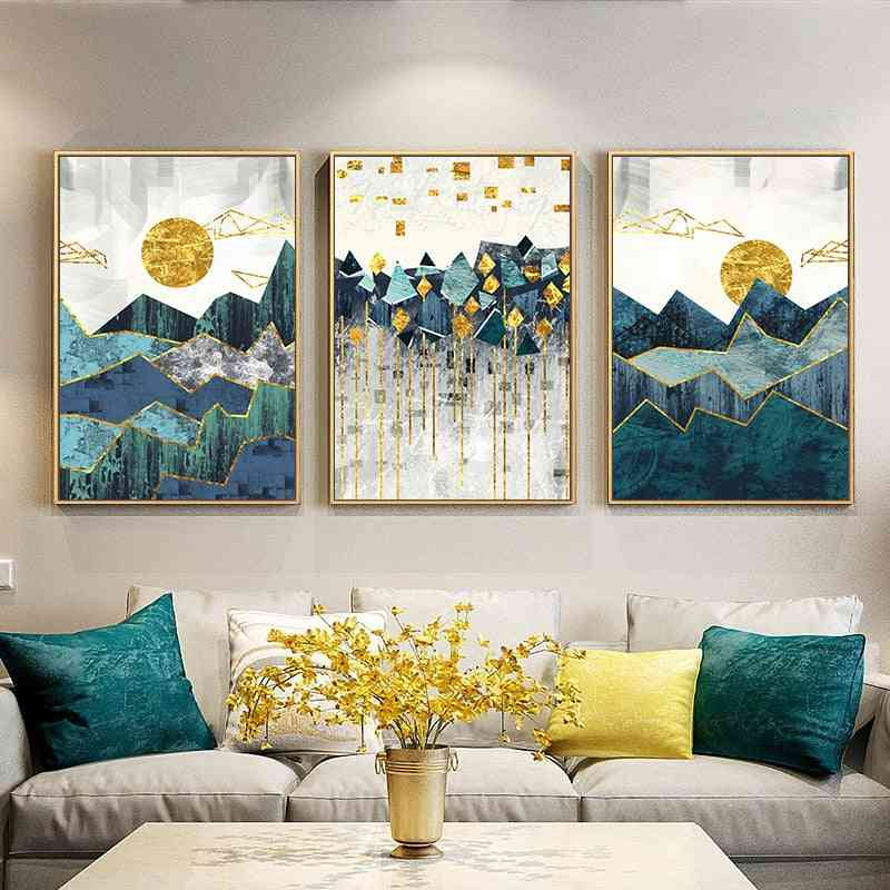 Nordic Abstract Geometric Mountain Landscape Wall Art Canvas Painting