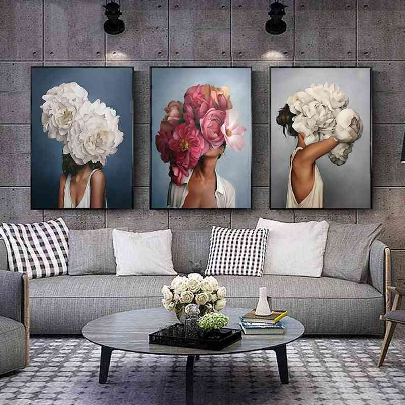 Flowers, Feathers, Woman Abstract - Canvas Painting Wall Art