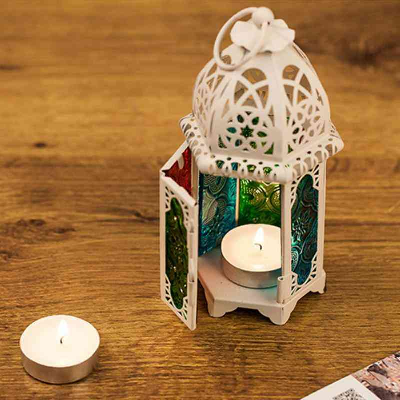 Moroccan Style Hollow Candle Holder- Hanging, Wrought Iron Glass Lantern