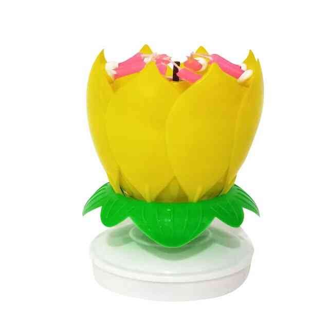 Musical, Lotus Flower - Happy Birthday Candle For Birthday Celebration