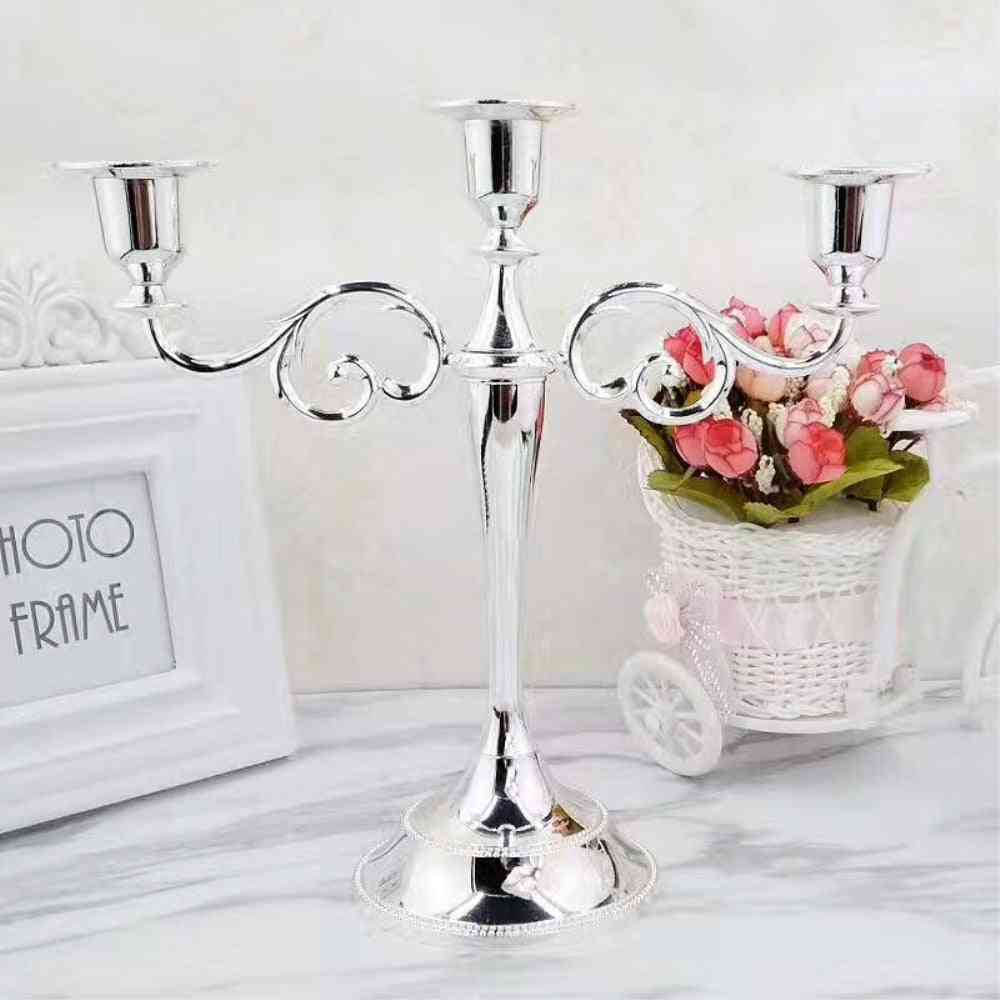 Silver/gold/bronze/black 3 Arms Metal Pillar Candle Holders Candlestick - Wedding Decoration Stand