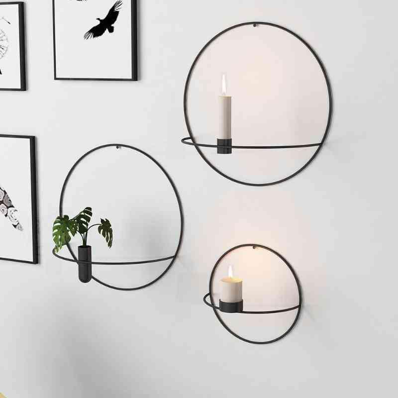 Modern Art 3d Wall Mounted Candle Holder - Metal Vintage Hanging, Dry Flower Vase