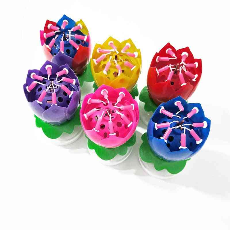 Rainbow Double Lotus Flower Music Candle - Colorful Rotatable Birthday Cake Lotus Candle