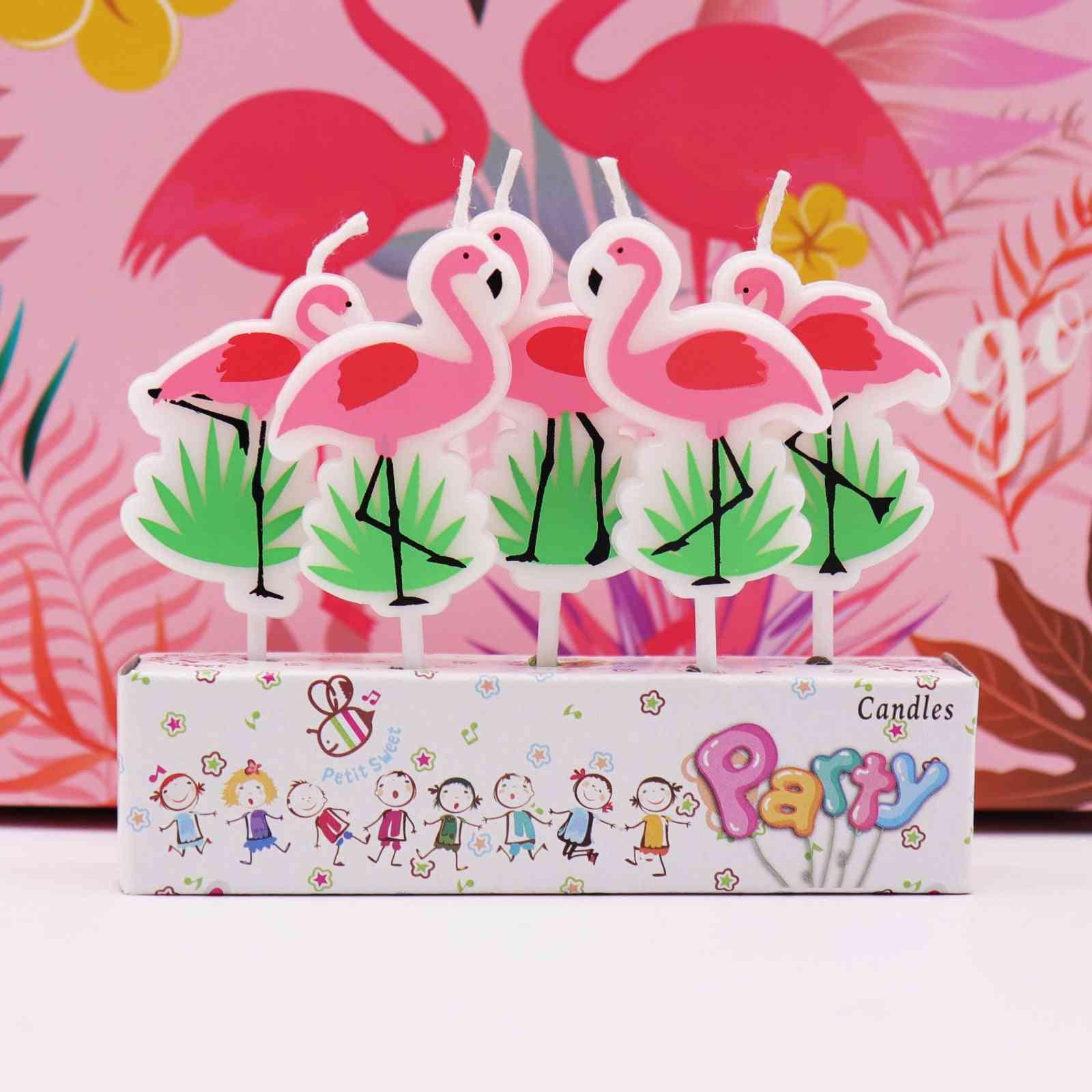 5pcs Cartoon Unicorn/flamingo Candles - Birthday Party, Baby Shower, Kids Party