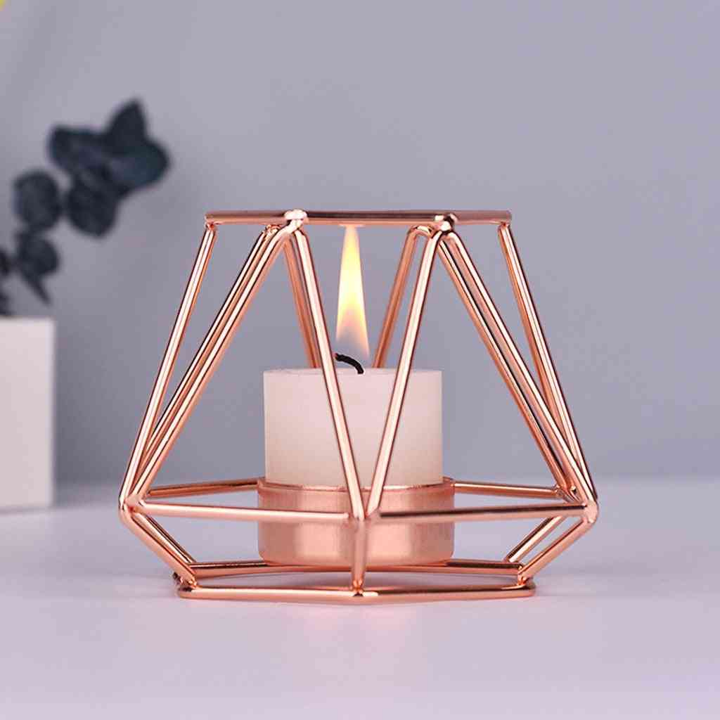Iron Geometric Candle Holders - Nordic Style, Wrought Rack, Home Decoration Metal Crafts
