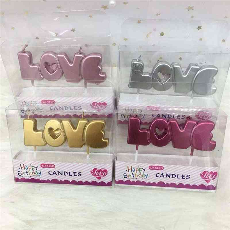 Happy Birthday Lovely Letter Birthday Candles - Party Festival Supplies