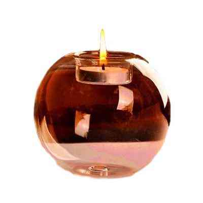 1pcs Round Hollow Glass Candle Holder - Transparent Crystal Glass Candlestick