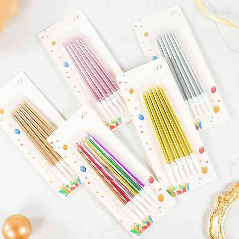 6 Pieces Gold-plated Slender Pencil Candle For Birthday Party Celebration