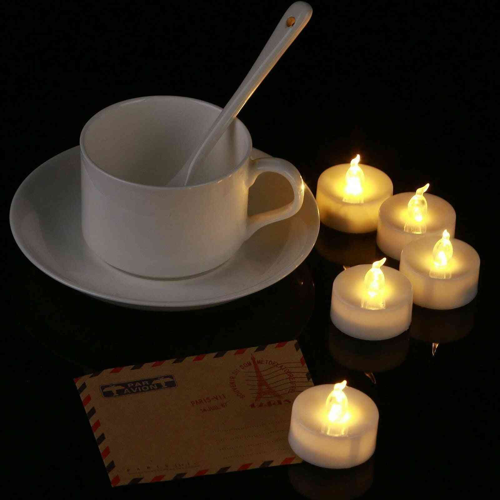12pcs Battery Operated Led - Lights Candles Flameless, Flickering Weeding Decor