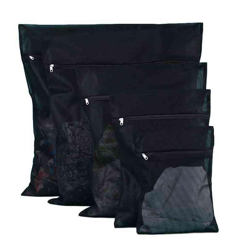 1pc Washing Machine Nylon Mesh Net Laundry Bag With Zipper