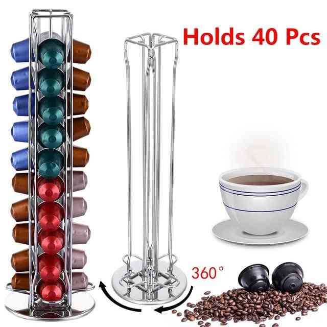 40 Cups Nespresso Coffee Pods Holder - Rotating Rack Coffee Capsule Stand , Dolce Gusto Capsules Storage Shelve