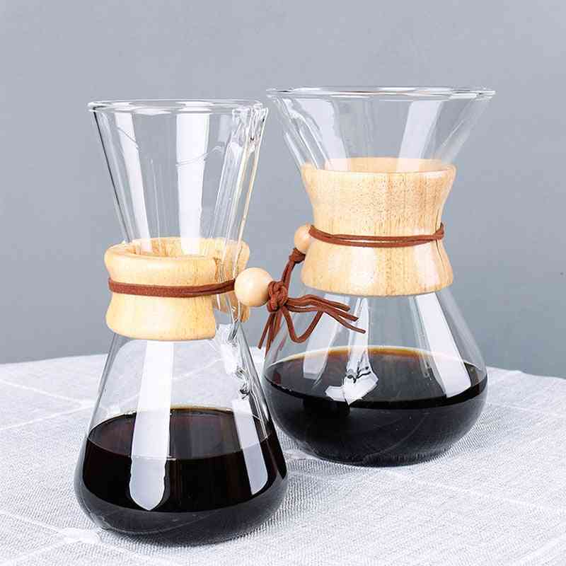 Resistant Glass Coffee Maker , Coffee Pot - Espresso Coffee Machine With Stainless Steel Filter Pot