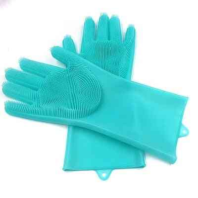 1 Pair Dish Washing, Magic Silicone Rubber Cleaning Glove For Household
