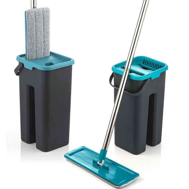 Flat Squeeze Microfiber Mop And Bucket - Hand Free Wringing Floor Cleaning