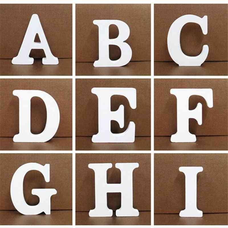 White Wooden English Alphabet / Numbers Diy Personalised Name Design Art Craft
