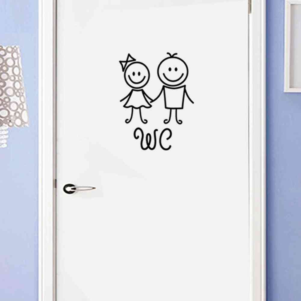 Wc Pvc Removable, Waterproof - Easy Apply Home Self Adhesive Toilet Door Stickers