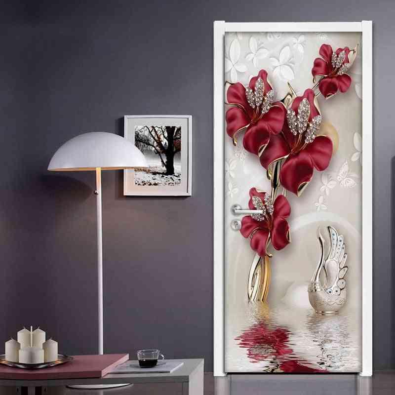 Red Flower, Butterfly Jewelry 3d - Modern Living Room, Bedroom Door Decoration Sticker