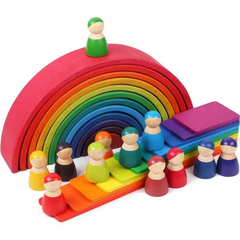 Large Creative Building Rainbow - Wooden Blocks