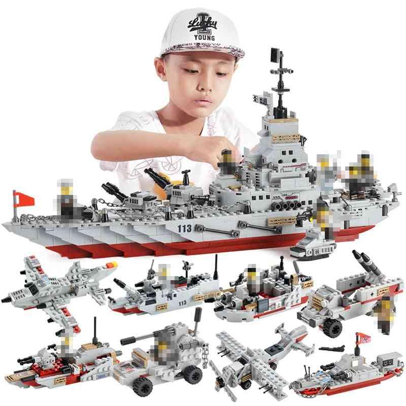 1000+ Pcs Military Warship Navy Aircraft Army Figures - Building Blocks Lego