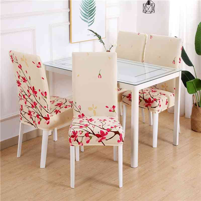 1/2/4/6pc Dining Chair Cover - Spandex Elastic Pastoral Print Modern Slipcovers