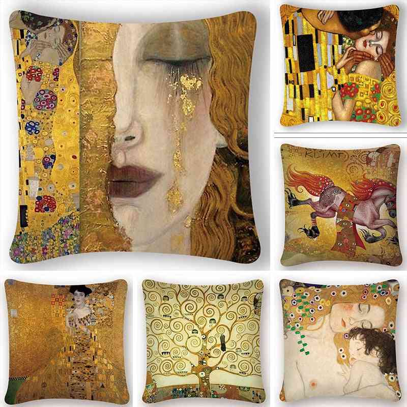 Gustav Klimt Oil Painting Cushion Cover - Vintage Decorative Gold Pattern Print Pillow Case