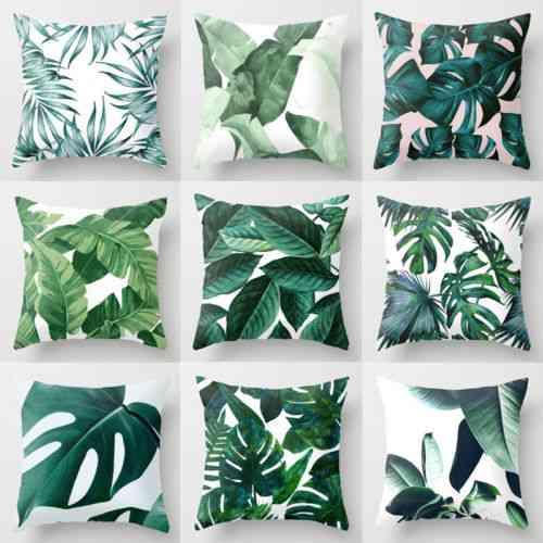 Polyester Case Cushion Green Leaves - Sofa Cushion For Home Decor