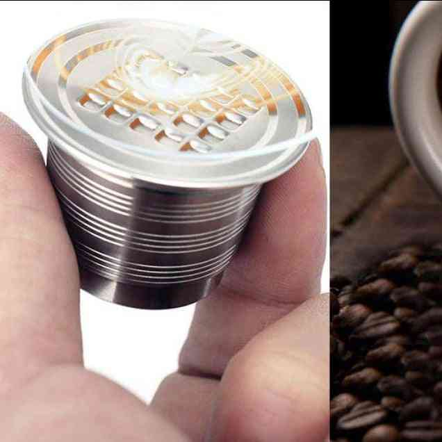 Refillable / Reusable Coffee Filter Dripper Steel Capsule And Coffee Tamper For Nespresso Coffee Machine