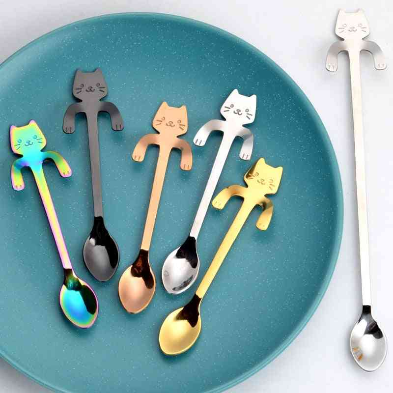 Cute Cat Mini Stainless Spoons Tableware - Teaspoon Used For Dessert, Snack, Scoop Ice Cream