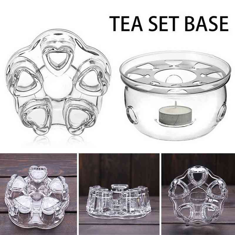 Mini Portable Clear Heat Resisting Teapot Holder - Base Coffee, Water, Tea Warmer And Candle Holder