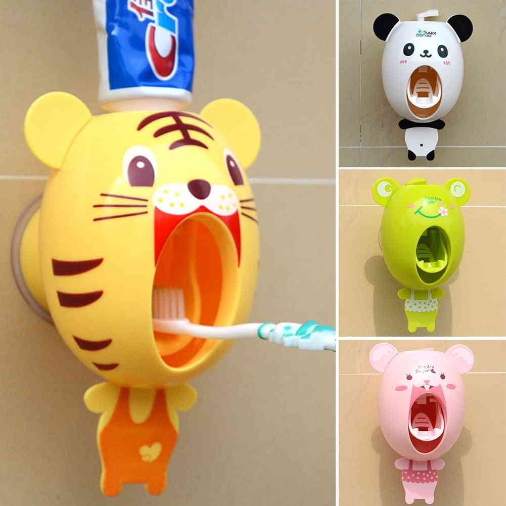 Strong Suction Sucker Cartoon Style Bathroom Household Toothbrush Holder -  Automatic Toothpaste Dispenser