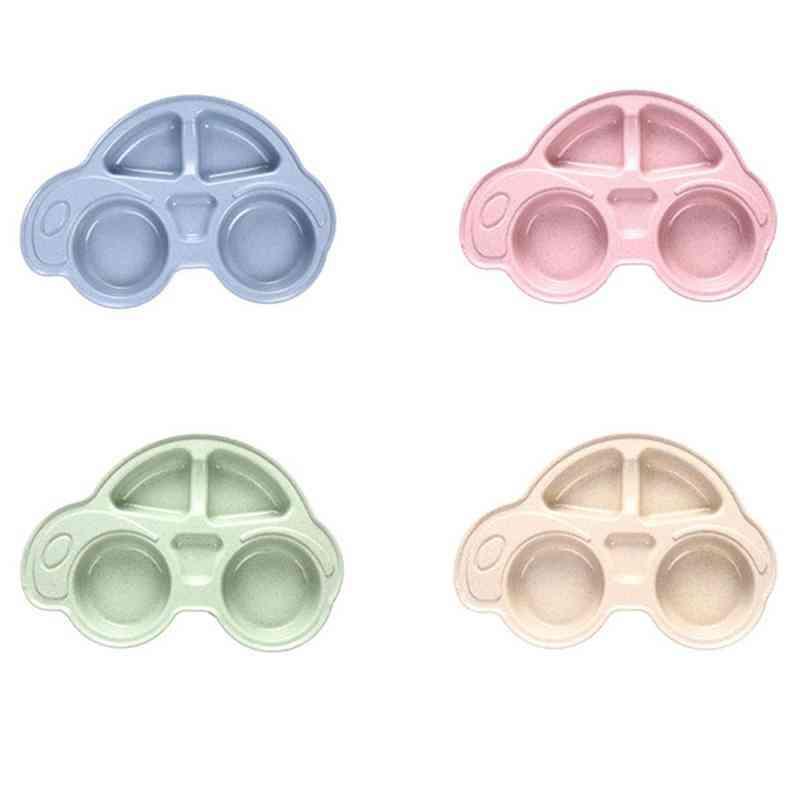 Heat Insulation Lunch Tools, Cute Cartoon Car Shape Wheat Straw Feeding Dish Plate