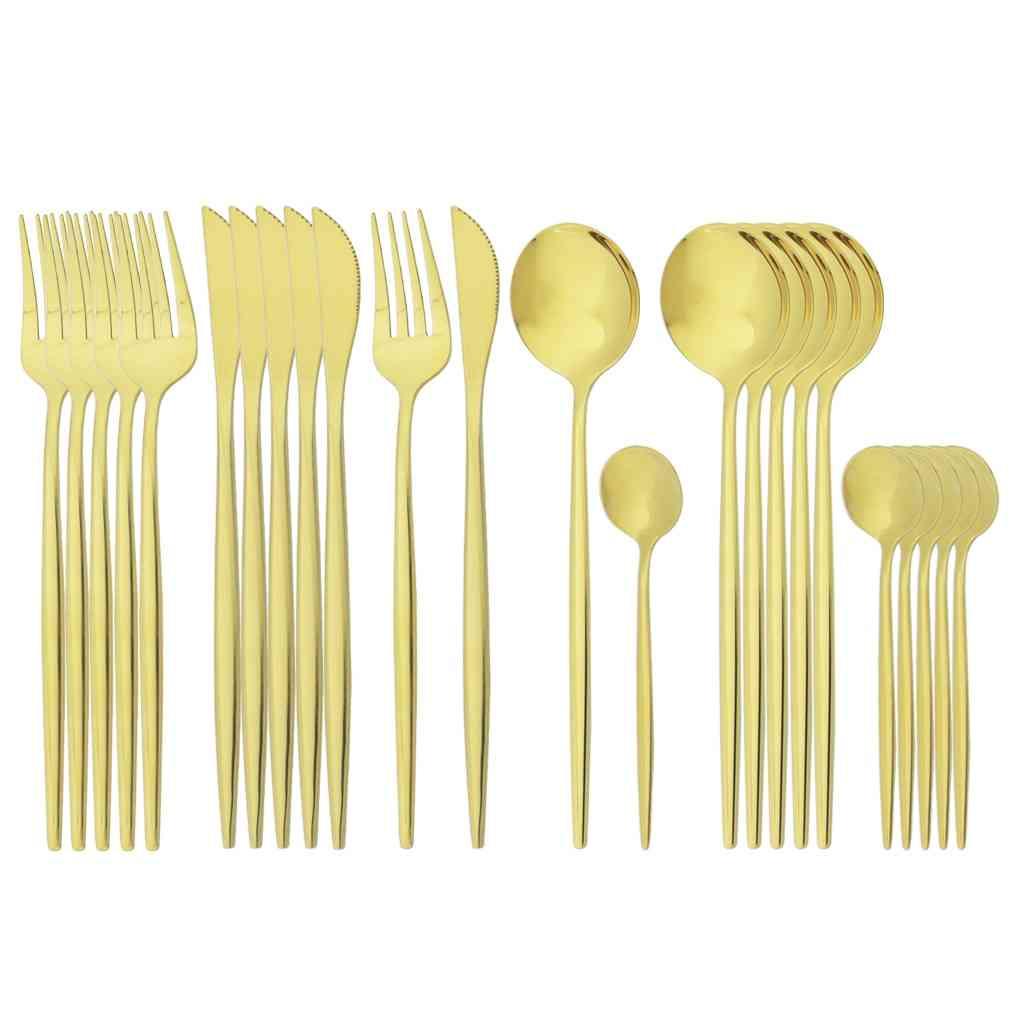 24pcs Gold Cutlery Stainless Steel Set Of Knife Fork Coffee Spoon Tableware Set